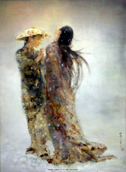 Two Women in Snow, original oil by Hu Jundi (胡峻涤油画)