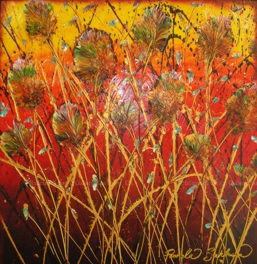 Bamboo Amongst Oaks 27, original on canvas by Pamela Sukhum