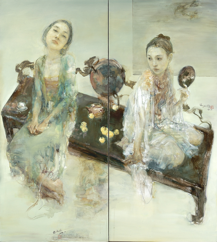 Late Spring of March - original oil diptych by Hu Jundi