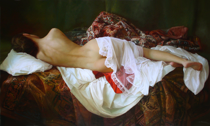 Serge Marshennikov original female oil portrait